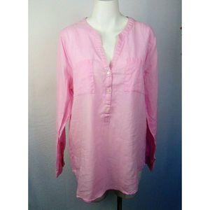 Old Navy Top Pink Pop-Over Tunic Linen Blend